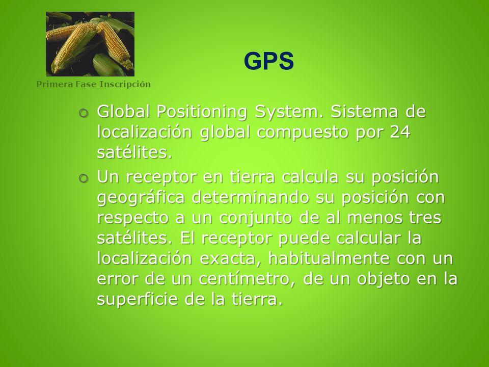 GPS Primera Fase Inscripción. Global Positioning System. Sistema de localización global compuesto por 24 satélites.
