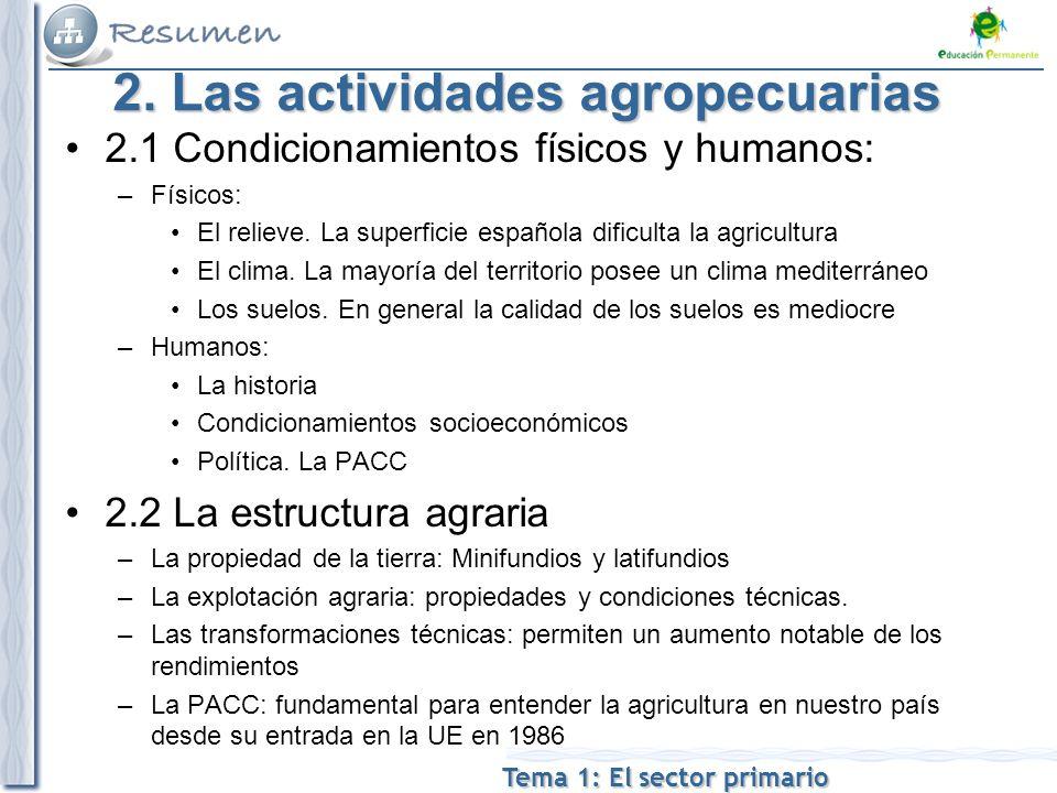 2. Las actividades agropecuarias