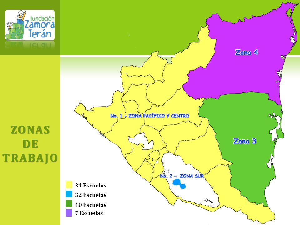 ZONAS DE TRABAJO 34 Escuelas 32 Escuelas 10 Escuelas 7 Escuelas