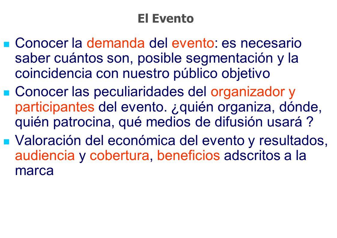 El Evento Conocer la demanda del evento: es necesario saber cuántos son, posible segmentación y la coincidencia con nuestro público objetivo.