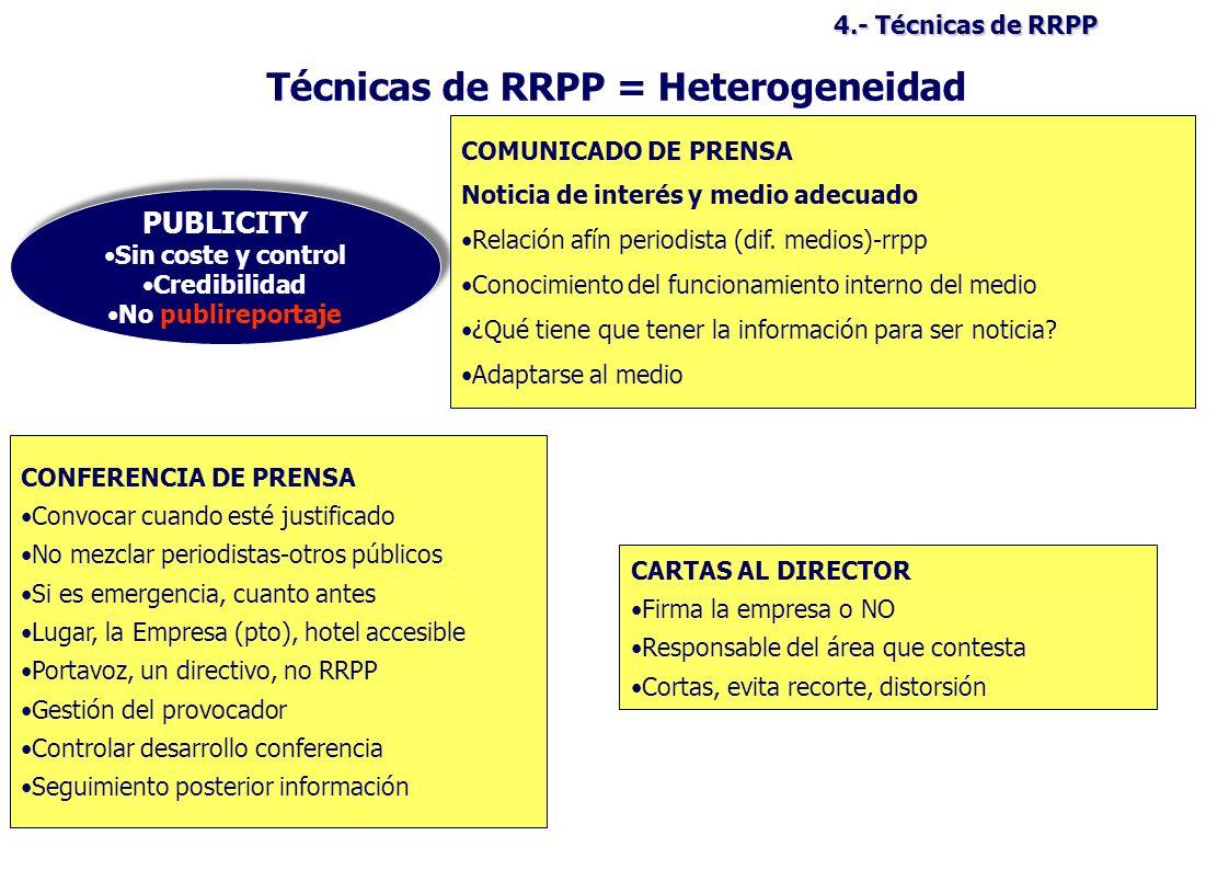 Técnicas de RRPP = Heterogeneidad
