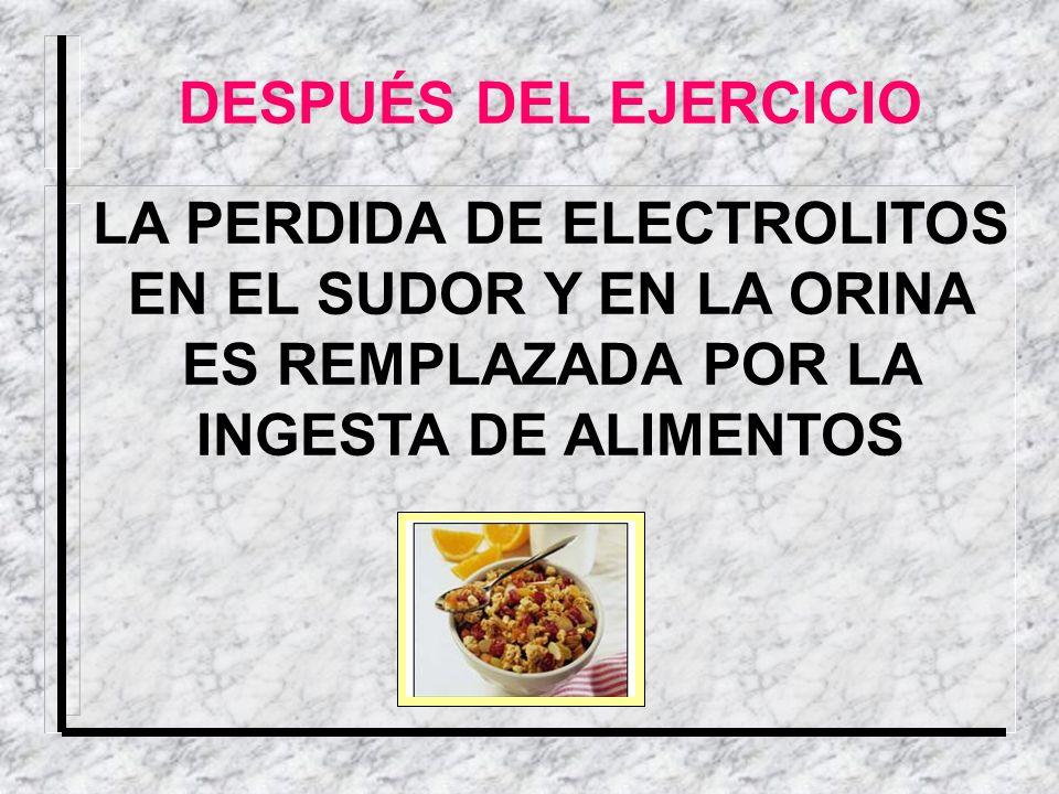 LA PERDIDA DE ELECTROLITOS EN EL SUDOR Y EN LA ORINA