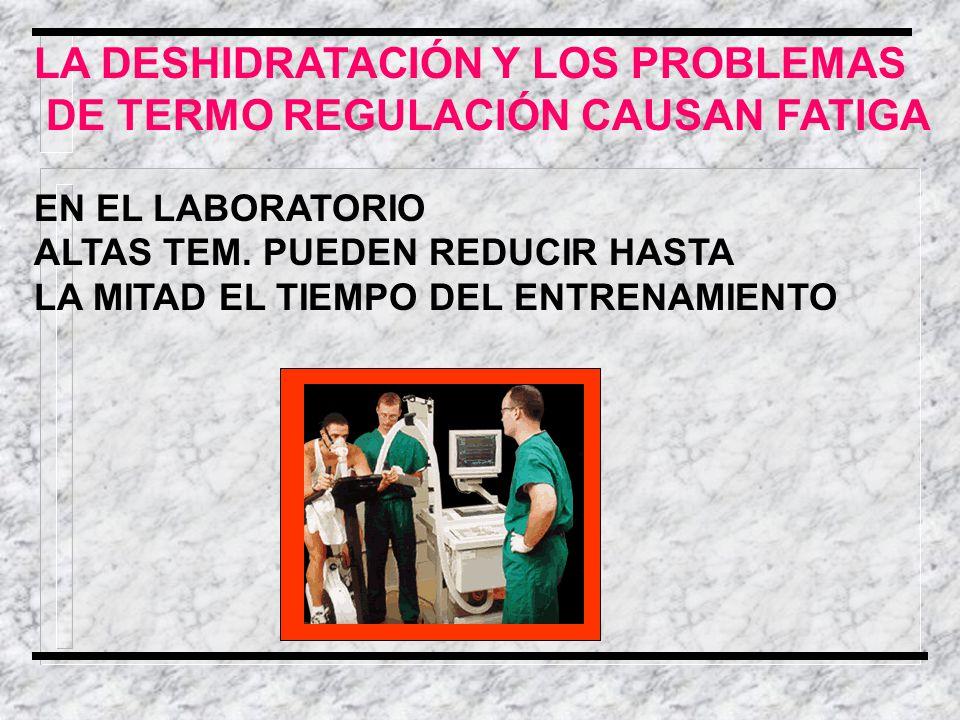 LA DESHIDRATACIÓN Y LOS PROBLEMAS DE TERMO REGULACIÓN CAUSAN FATIGA