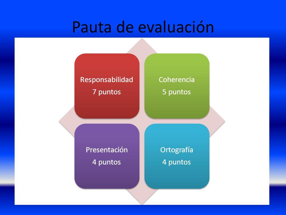 Pauta de evaluación Responsabilidad 7 puntos Coherencia 5 puntos