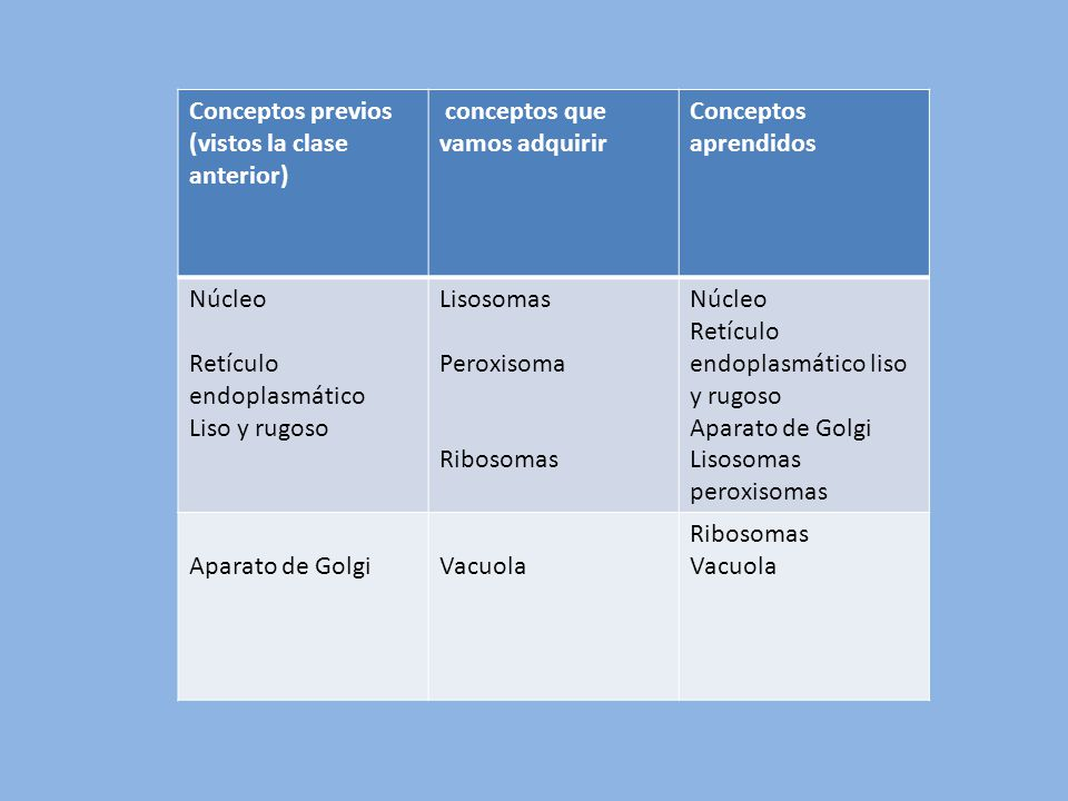 Conceptos previos (vistos la clase anterior) conceptos que vamos adquirir. Conceptos aprendidos. Núcleo.