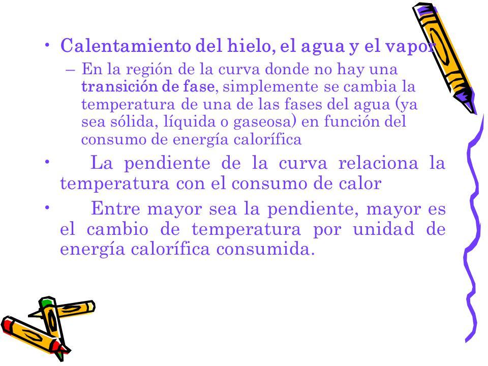 Calentamiento del hielo, el agua y el vapor