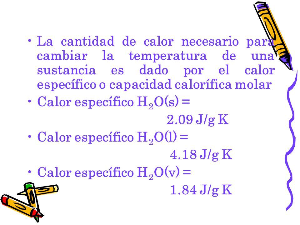 La cantidad de calor necesario para cambiar la temperatura de una sustancia es dado por el calor específico o capacidad calorífica molar