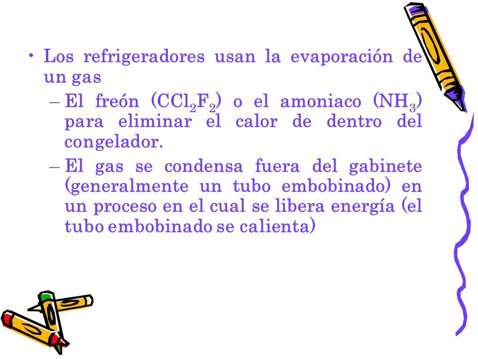 Los refrigeradores usan la evaporación de un gas