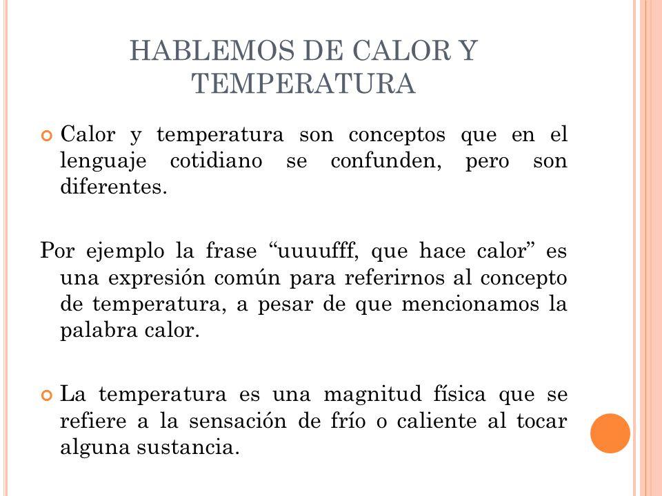 HABLEMOS DE CALOR Y TEMPERATURA