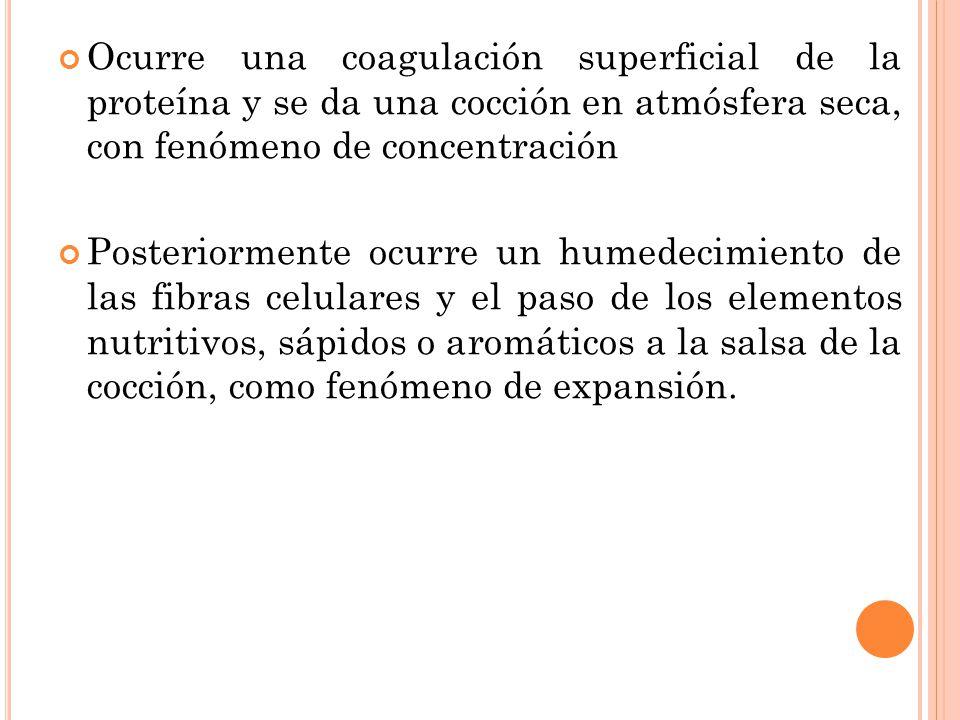 Ocurre una coagulación superficial de la proteína y se da una cocción en atmósfera seca, con fenómeno de concentración