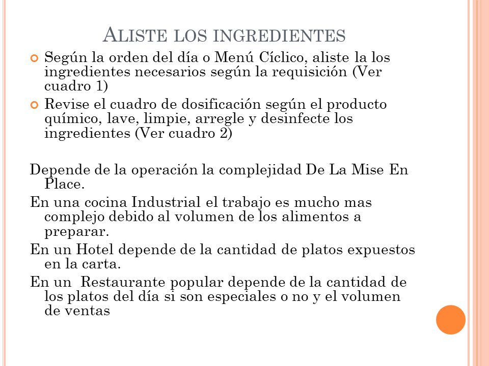 Aliste los ingredientes