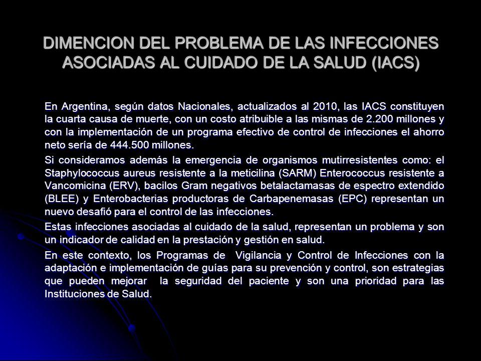 DIMENCION DEL PROBLEMA DE LAS INFECCIONES ASOCIADAS AL CUIDADO DE LA SALUD (IACS)