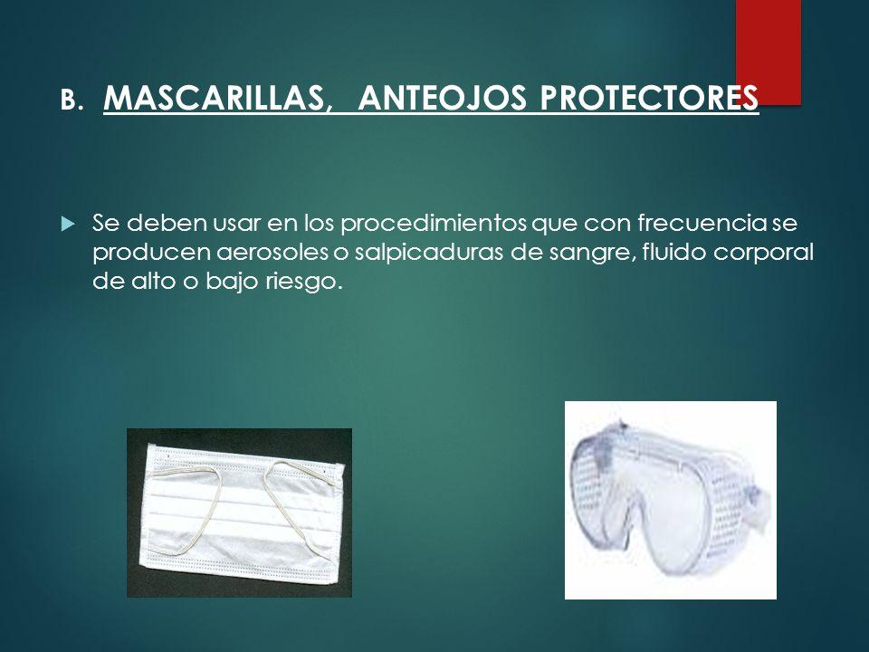 B. MASCARILLAS, ANTEOJOS PROTECTORES