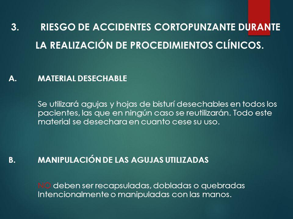 RIESGO DE ACCIDENTES CORTOPUNZANTE DURANTE LA REALIZACIÓN DE PROCEDIMIENTOS CLÍNICOS.