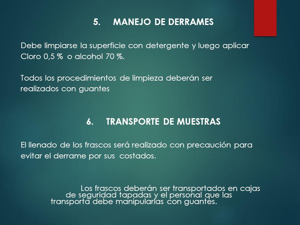 6. TRANSPORTE DE MUESTRAS