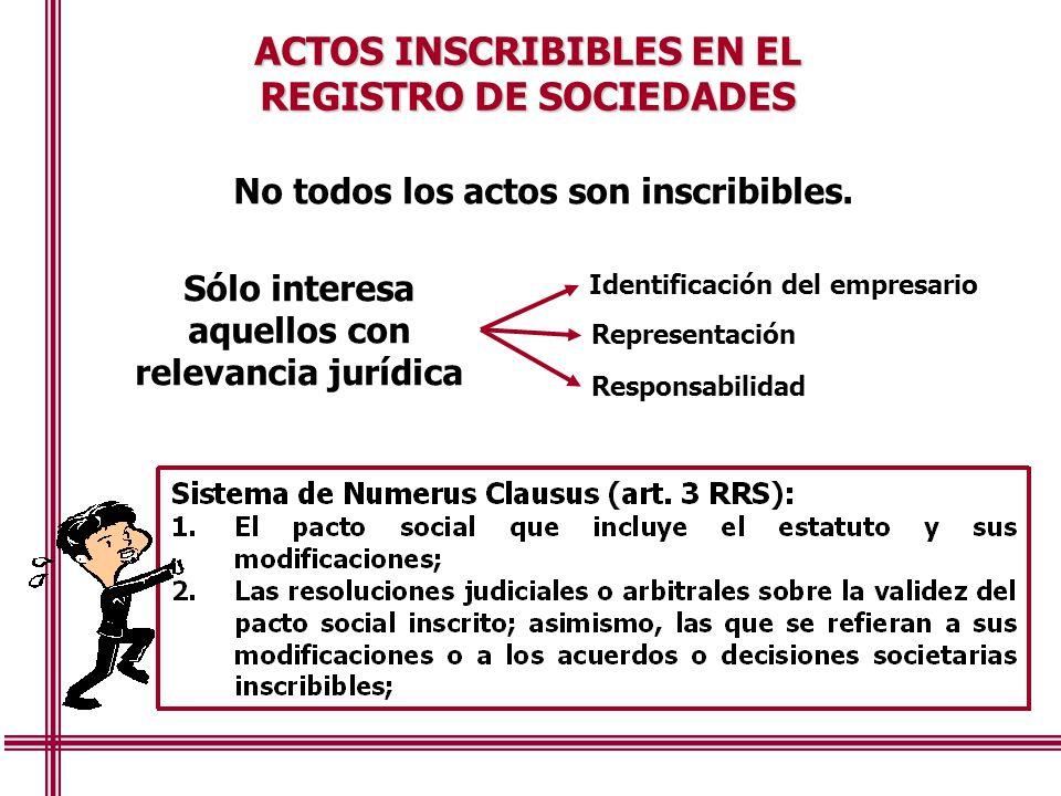 REGISTRO DE SOCIEDADES Sólo interesa aquellos con relevancia jurídica