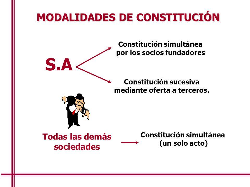 MODALIDADES DE CONSTITUCIÓN