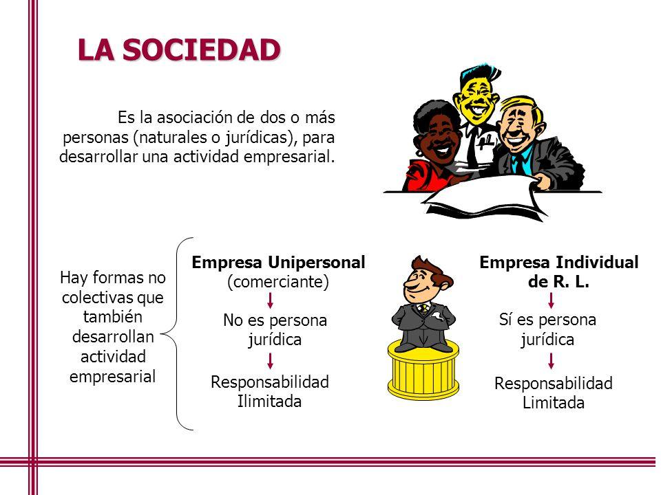 LA SOCIEDAD Es la asociación de dos o más personas (naturales o jurídicas), para desarrollar una actividad empresarial.