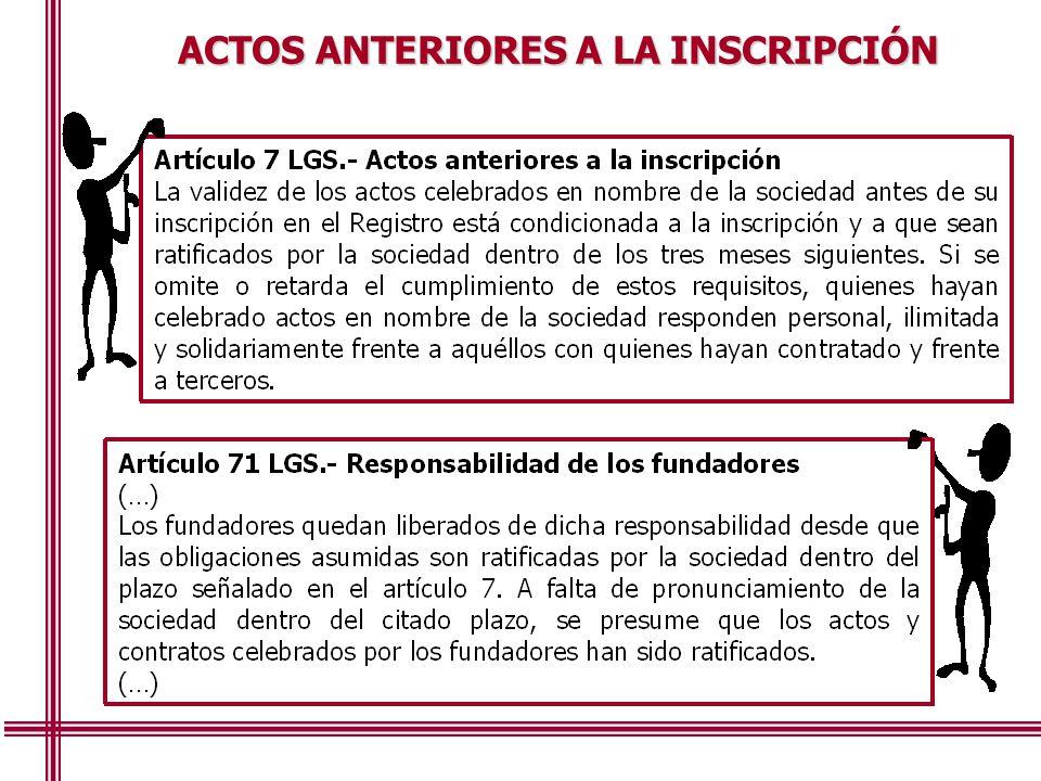ACTOS ANTERIORES A LA INSCRIPCIÓN