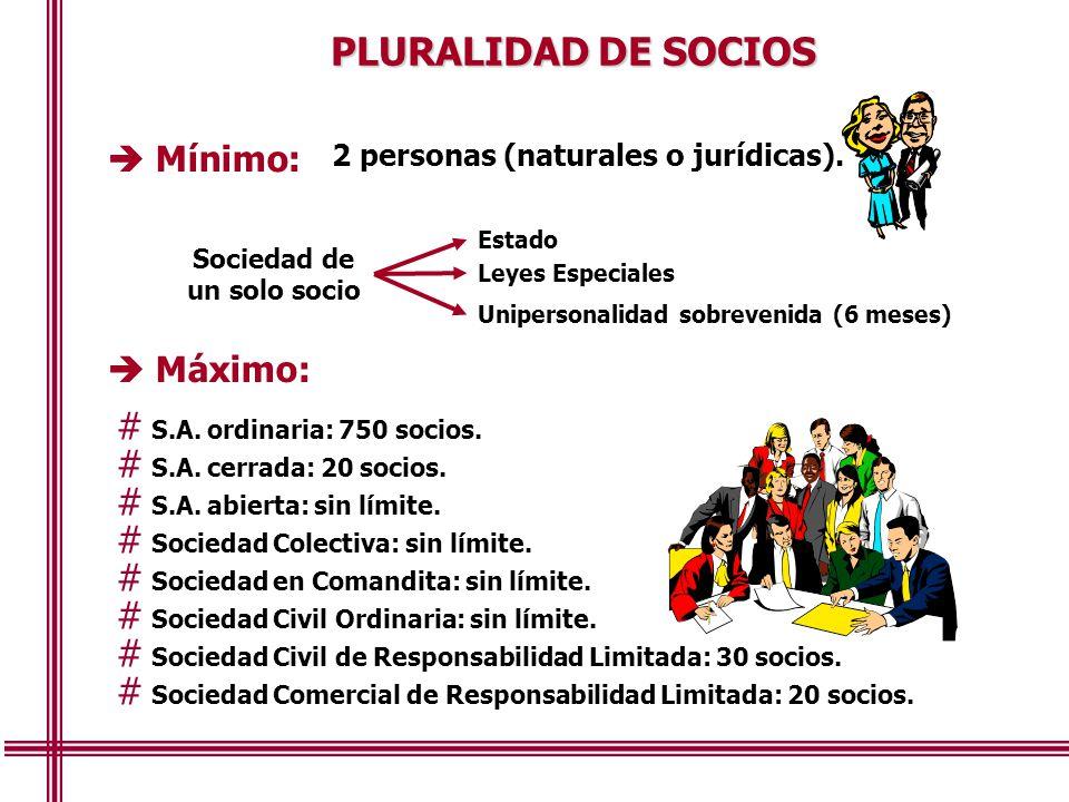 2 personas (naturales o jurídicas). Sociedad de un solo socio