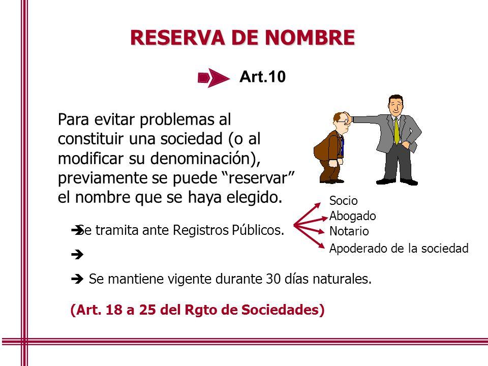 RESERVA DE NOMBRE Art.10.