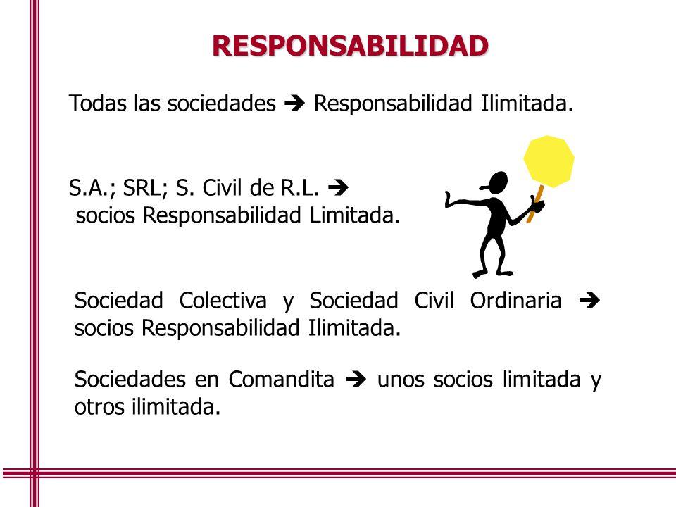 RESPONSABILIDAD Todas las sociedades  Responsabilidad Ilimitada.