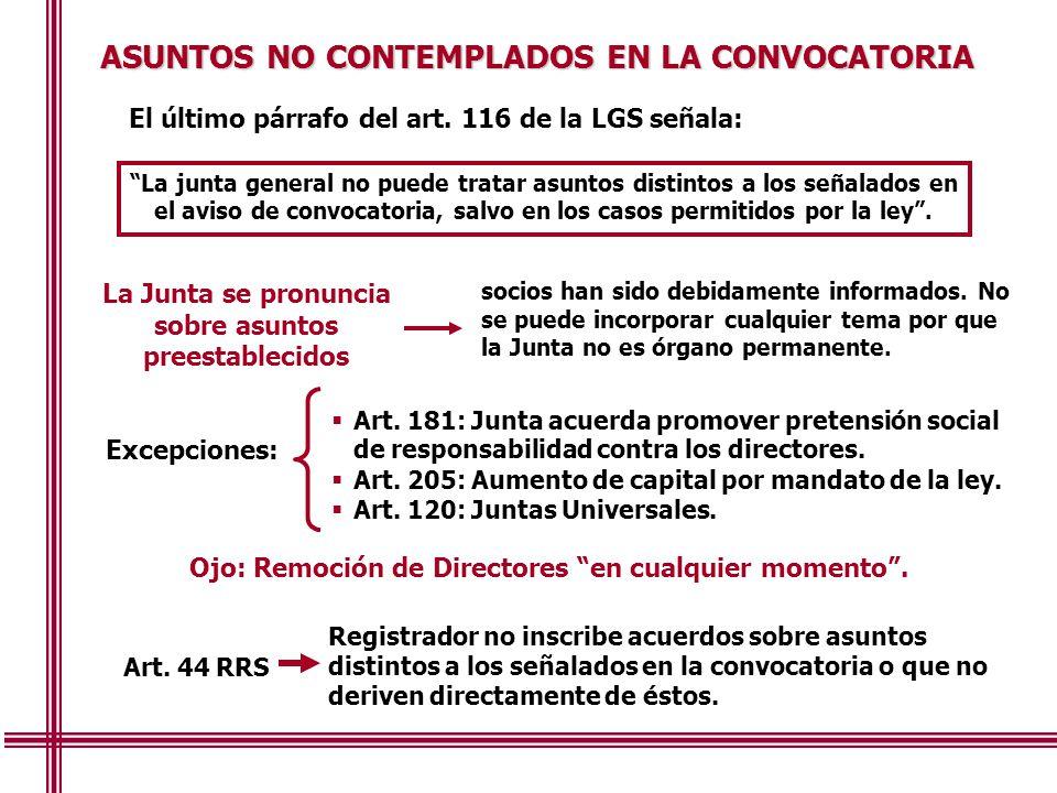 ASUNTOS NO CONTEMPLADOS EN LA CONVOCATORIA