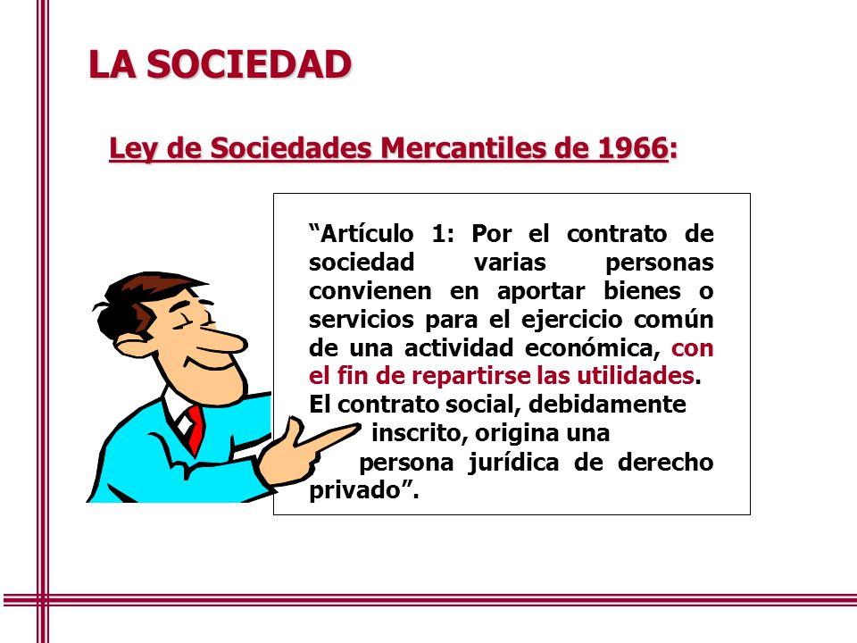 LA SOCIEDAD Ley de Sociedades Mercantiles de 1966: