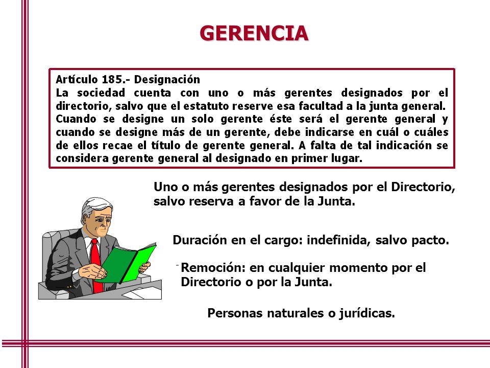 GERENCIA Uno o más gerentes designados por el Directorio, salvo reserva a favor de la Junta. Duración en el cargo: indefinida, salvo pacto.