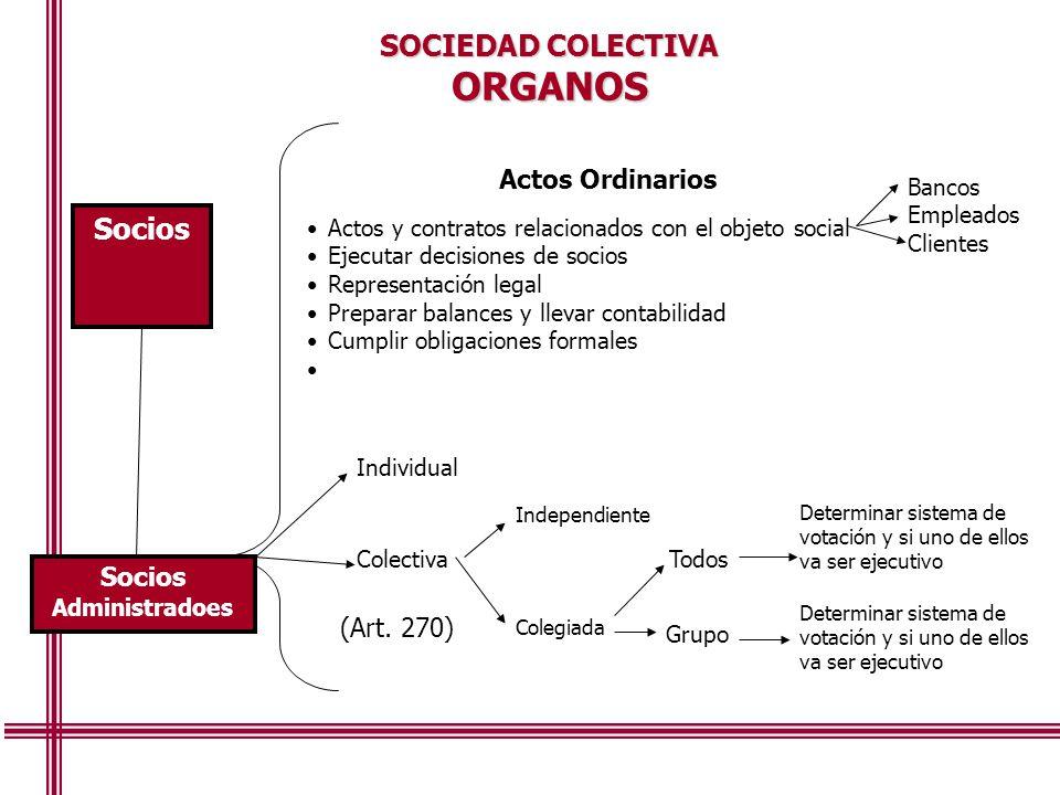 ORGANOS SOCIEDAD COLECTIVA Actos Ordinarios Socios (Art. 270)