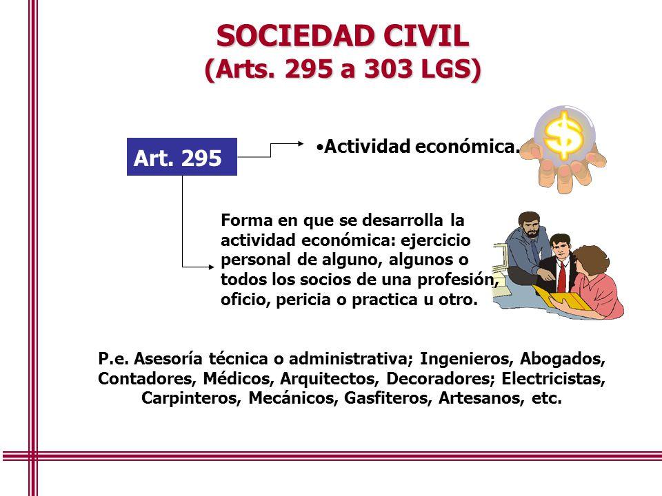 SOCIEDAD CIVIL (Arts. 295 a 303 LGS) Art. 295 Actividad económica.