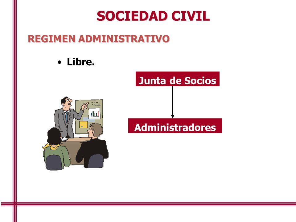 SOCIEDAD CIVIL REGIMEN ADMINISTRATIVO Libre. Junta de Socios