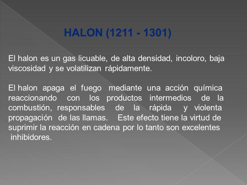 HALON (1211 - 1301) El halon es un gas licuable, de alta densidad, incoloro, baja. viscosidad y se volatilizan rápidamente.
