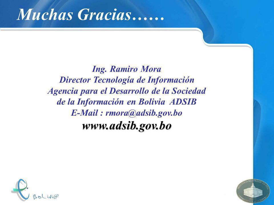 Director Tecnología de Información E-Mail : rmora@adsib.gov.bo