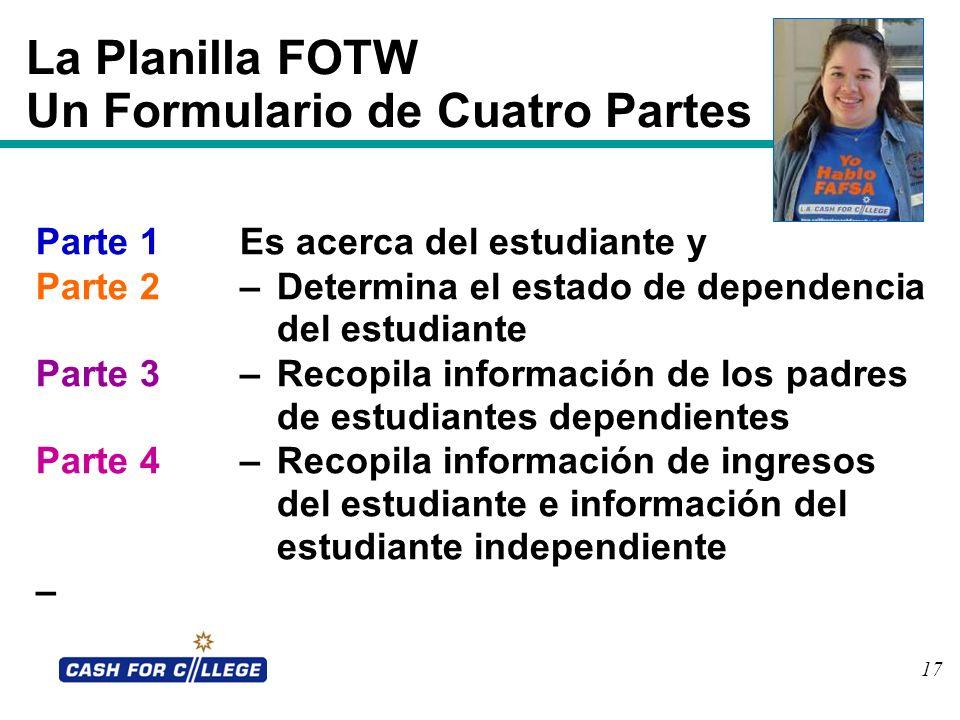 La Planilla FOTW Un Formulario de Cuatro Partes