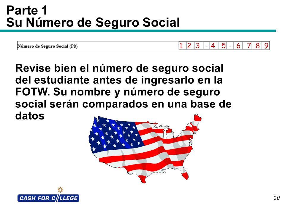 Parte 1 Su Número de Seguro Social