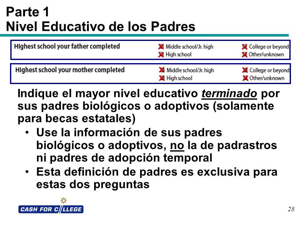 Parte 1 Nivel Educativo de los Padres