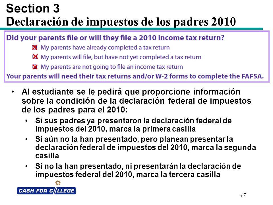 Section 3 Declaración de impuestos de los padres 2010