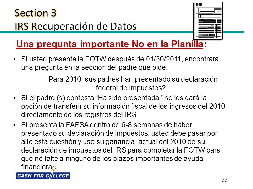 Section 3 IRS Recuperación de Datos