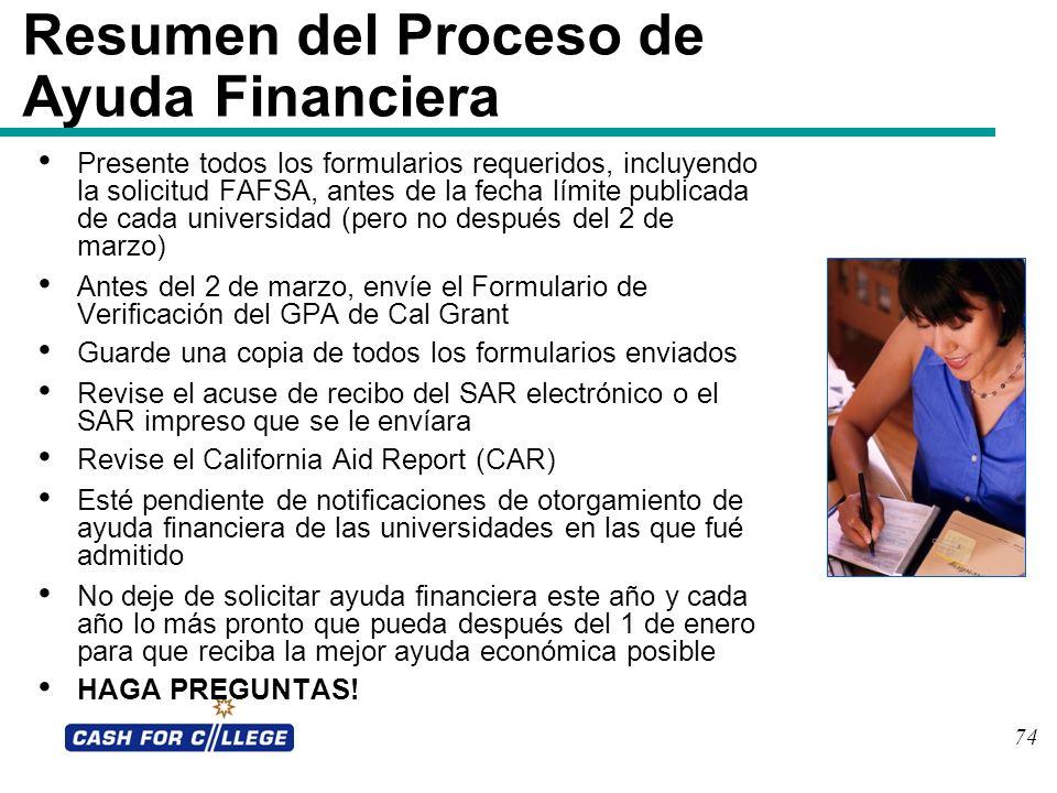 Resumen del Proceso de Ayuda Financiera