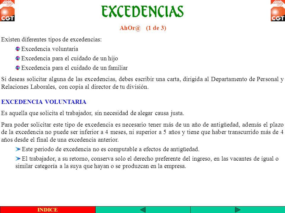 Existen diferentes tipos de excedencias: Excedencia voluntaria