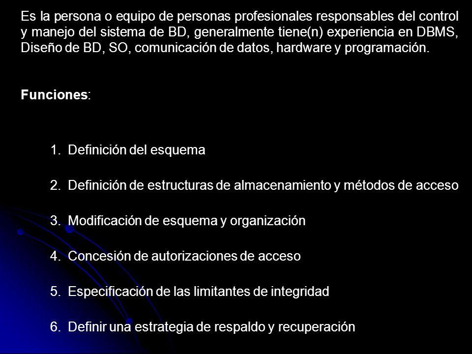Es la persona o equipo de personas profesionales responsables del control y manejo del sistema de BD, generalmente tiene(n) experiencia en DBMS, Diseño de BD, SO, comunicación de datos, hardware y programación.