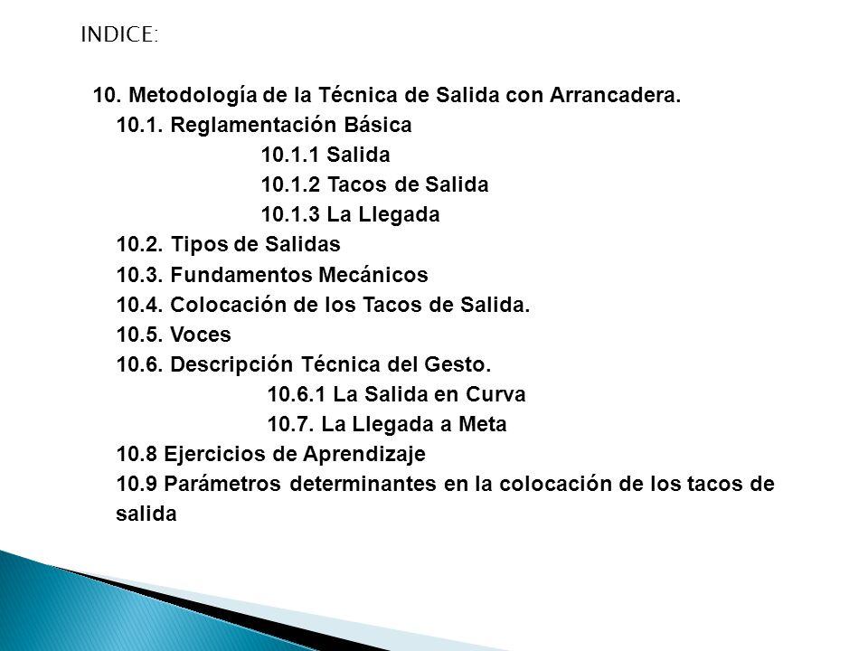 INDICE: 10. Metodología de la Técnica de Salida con Arrancadera. 10.1. Reglamentación Básica. 10.1.1 Salida.