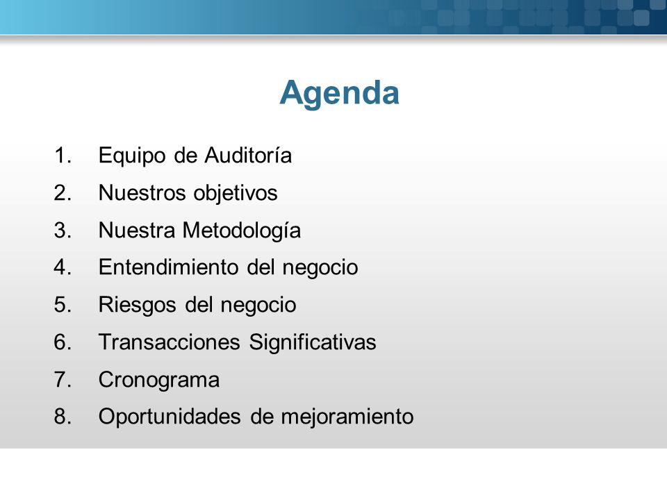 Agenda Equipo de Auditoría Nuestros objetivos Nuestra Metodología
