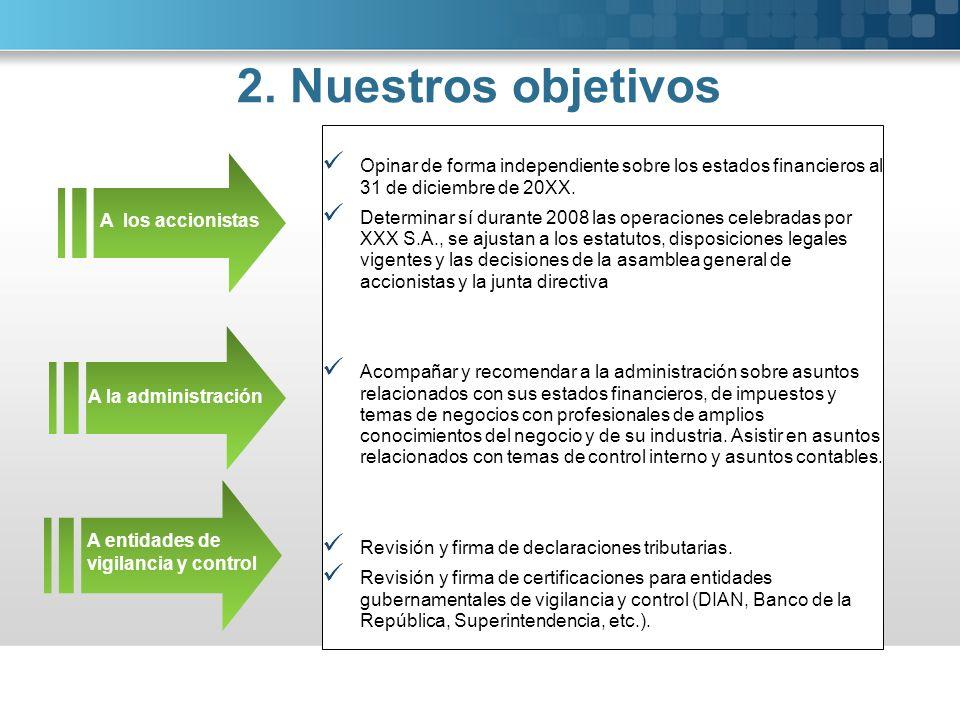 2. Nuestros objetivos Opinar de forma independiente sobre los estados financieros al 31 de diciembre de 20XX.