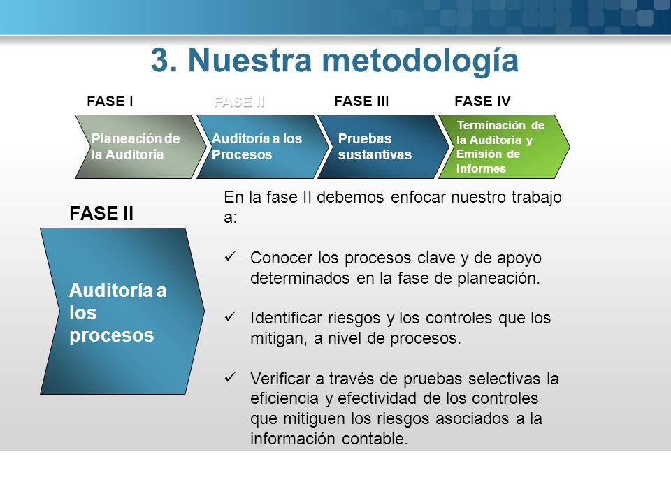 3. Nuestra metodología FASE II Auditoría a los procesos