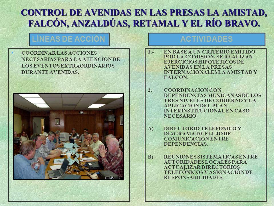 CONTROL DE AVENIDAS EN LAS PRESAS LA AMISTAD, FALCÓN, ANZALDÚAS, RETAMAL Y EL RÍO BRAVO.