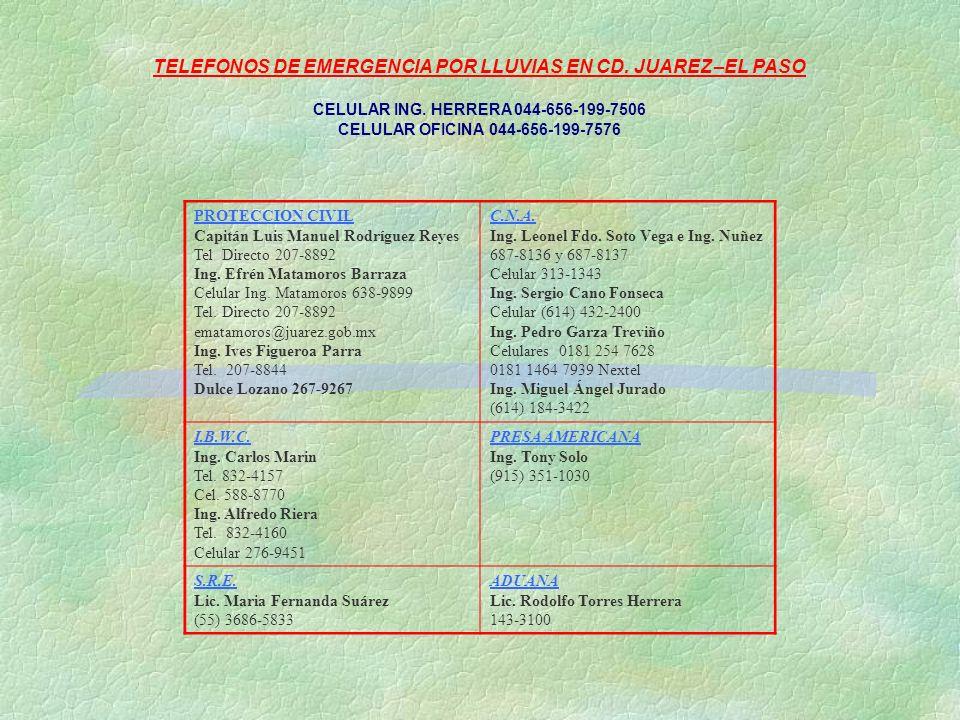 TELEFONOS DE EMERGENCIA POR LLUVIAS EN CD. JUAREZ –EL PASO