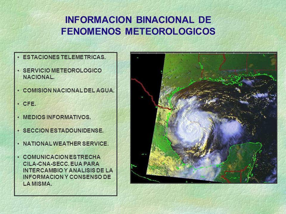 INFORMACION BINACIONAL DE FENOMENOS METEOROLOGICOS
