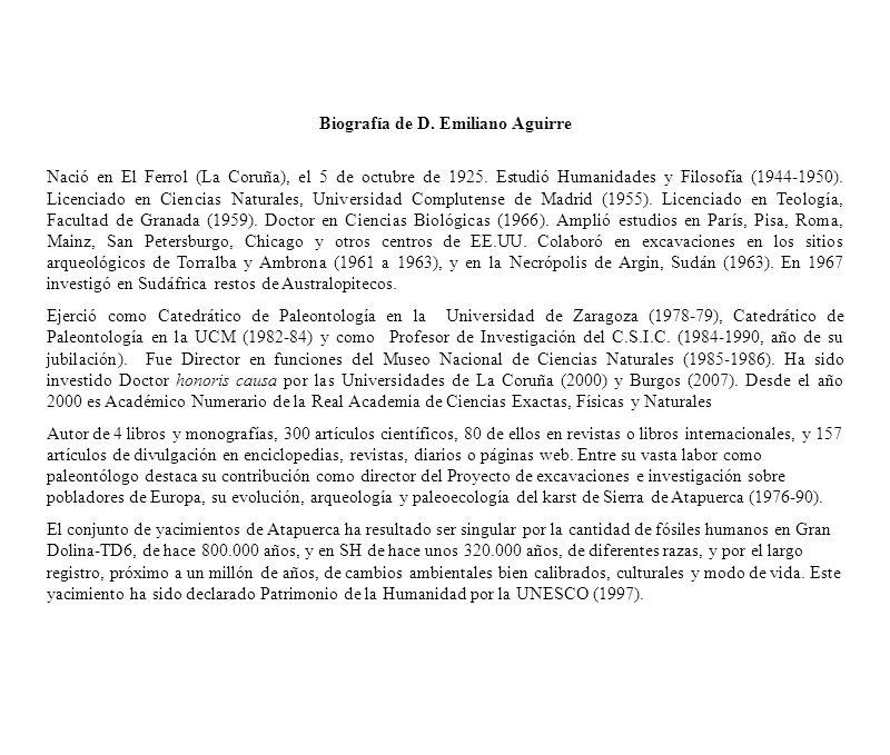 Biografía de D. Emiliano Aguirre